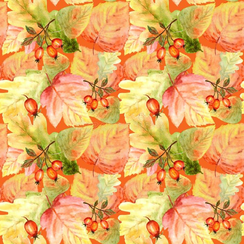 Картина акварели безшовная с яркими листьями и ветвями леса цветов Красивая предпосылка осени в апельсине, зеленом стоковое фото rf