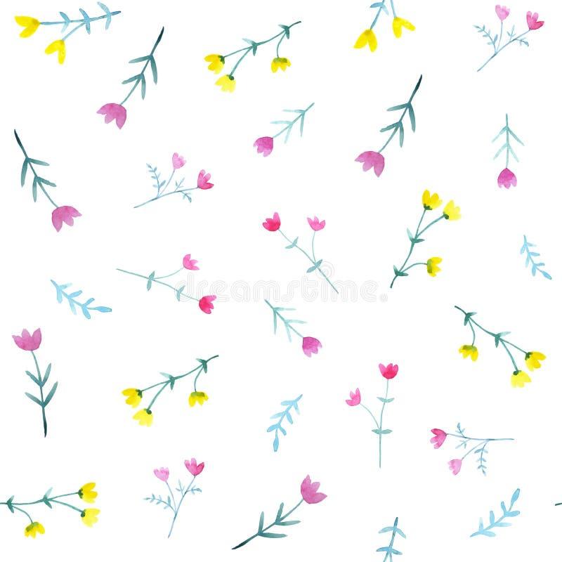 Картина акварели безшовная с яркими цветками и листьями иллюстрация вектора