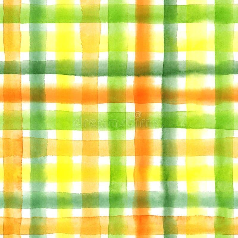 Картина акварели безшовная checkered Покрашенная рукой предпосылка шотландки повторения иллюстрация вектора