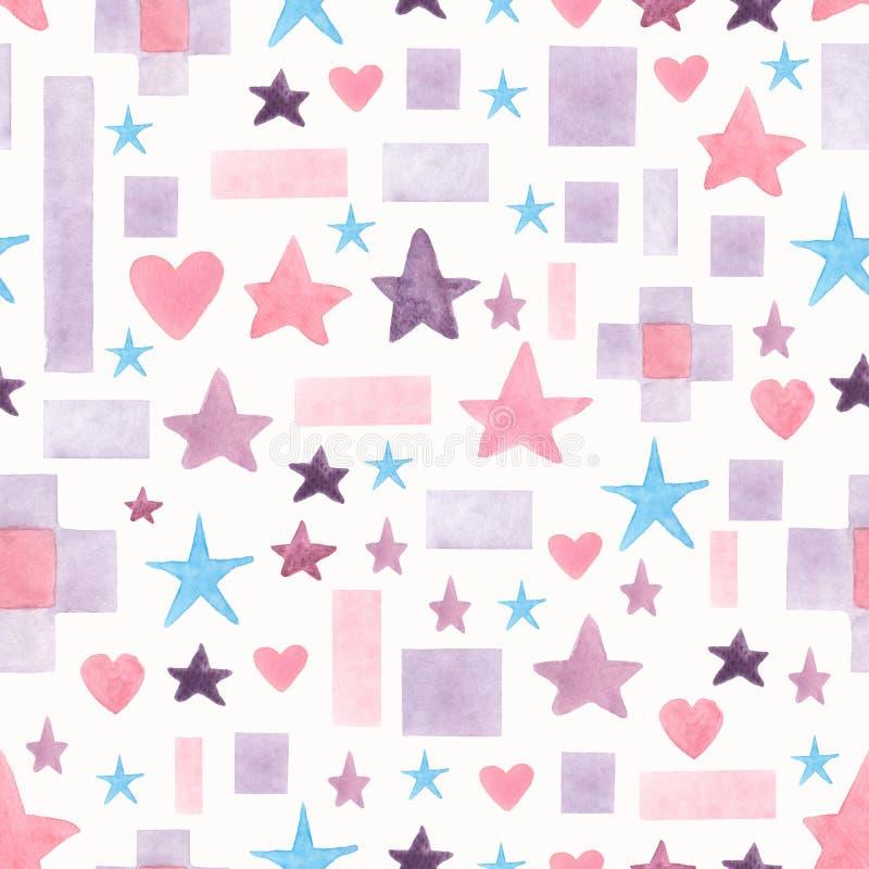 Картина акварели безшовной руки вычерченная с формами пинка, голубых и фиолетовых различными геометрическими на белой предпосылке бесплатная иллюстрация