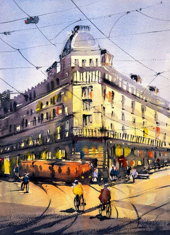 Картина акварели - взгляд улицы Парижа иллюстрация штока