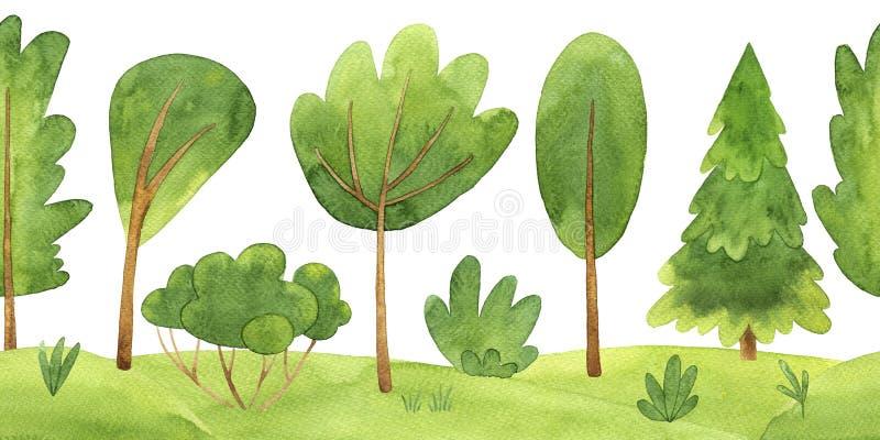 Картина акварели горизонтальная безшовная с деревьями и заводом иллюстрация вектора