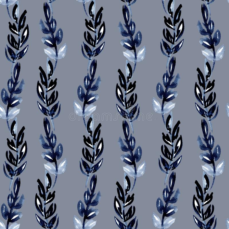 Картина акварели иллюстрации безшовная листьев индиго в форме волн вертикальных нашивок на серой предпосылке иллюстрация вектора