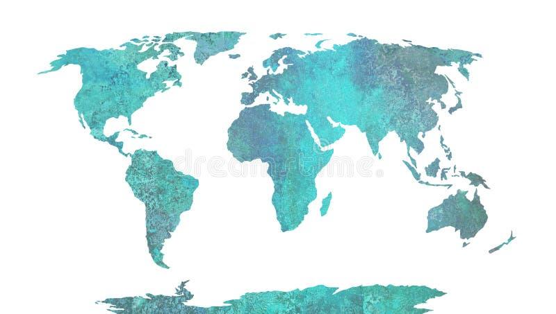 Картина акварели карты мира голубая, высоко детальная бесплатная иллюстрация