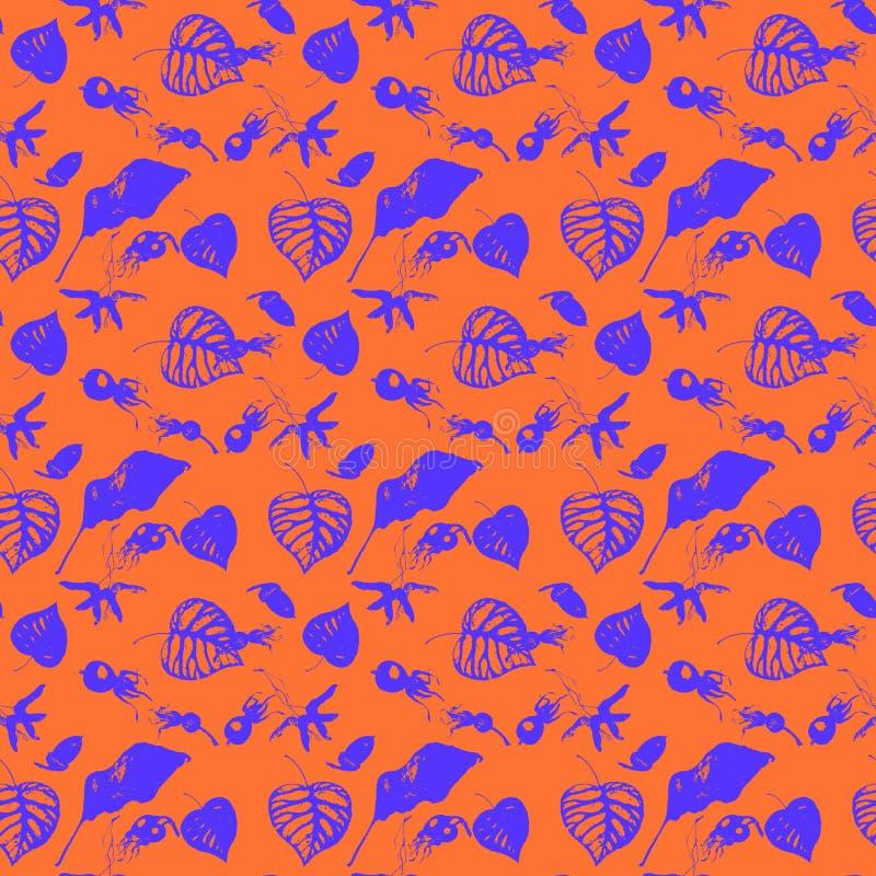 Картина акварели красивых пурпурных листьев и плодов изолированных на оранжевой предпосылке бесплатная иллюстрация