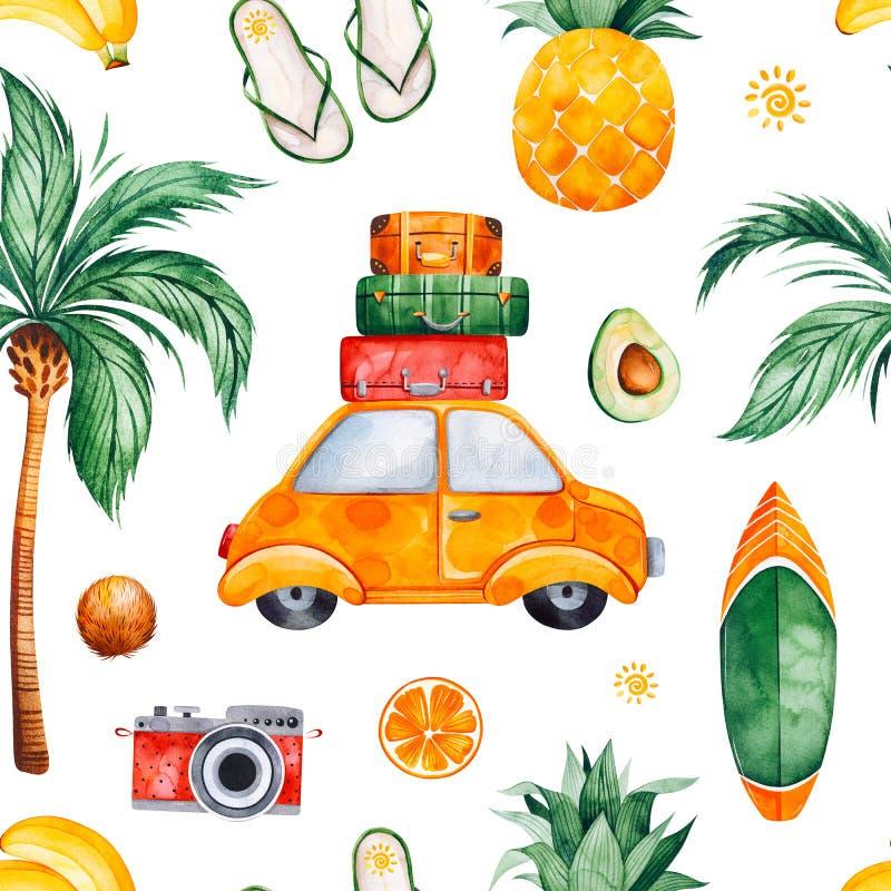 Картина акварели перемещения безшовная с пальмой, желтым автомобилем, чемоданом, ананасом иллюстрация вектора