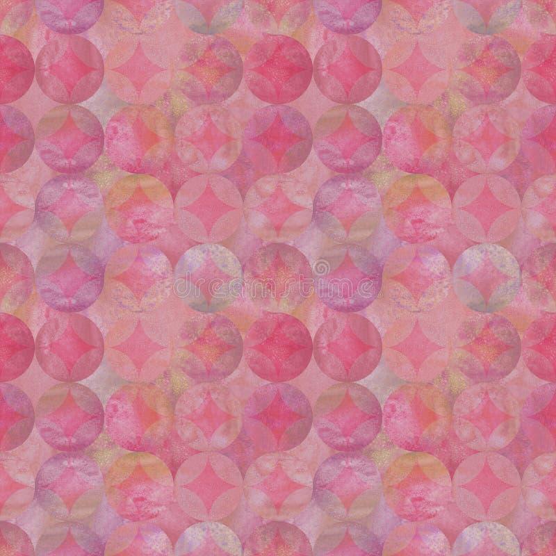 Картина акварели пинка grunge конспекта безшовная с перекрывать красочную предпосылку кругов иллюстрация штока