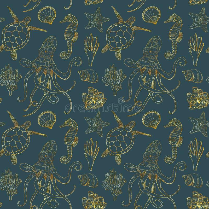 Картина акварели подводная безшовная Рука покрасила золотых осьминога, черепахи, морского конька, ламинарии, раковины и кораллово стоковое изображение