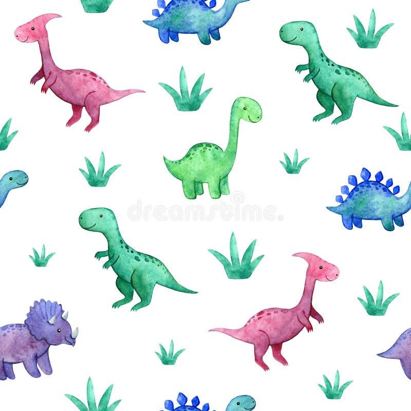Картина акварели ребяческая безшовная с динозаврами и заводами стоковое фото