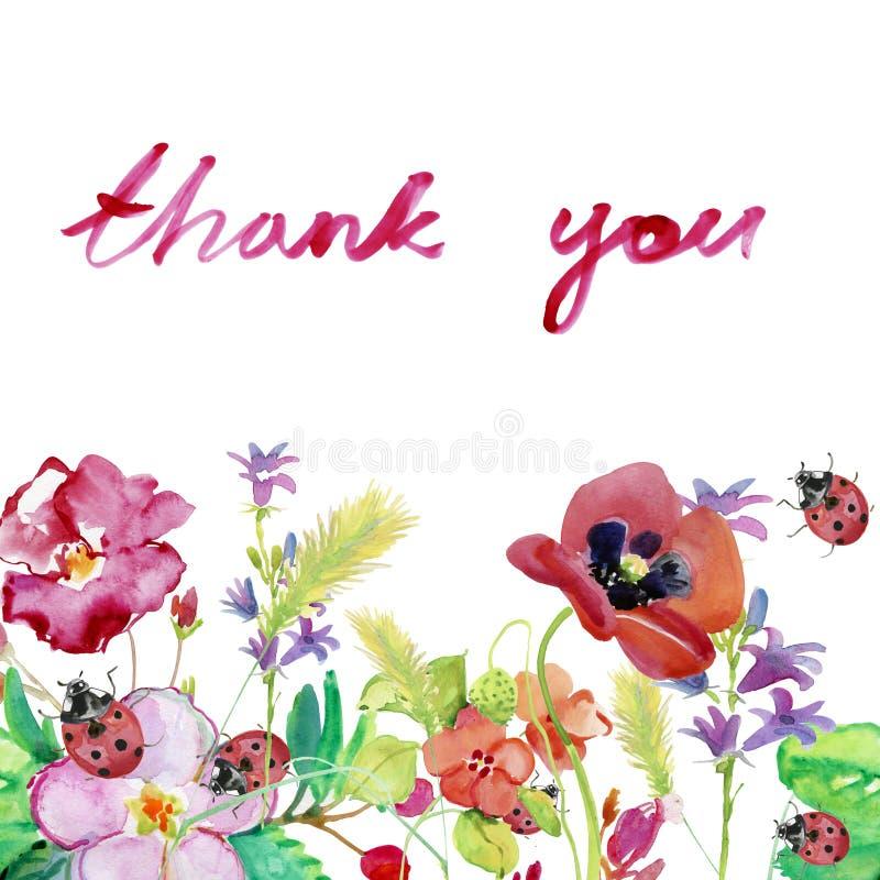 Картина акварели, рука покрасила чертеж Шаблон для поздравительной открытки с красочными полевыми цветками иллюстрация штока