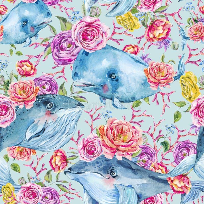 Картина акварели синего кита безшовная с розой, ветреницами, цветками лета Морская цифровая бумага бесплатная иллюстрация
