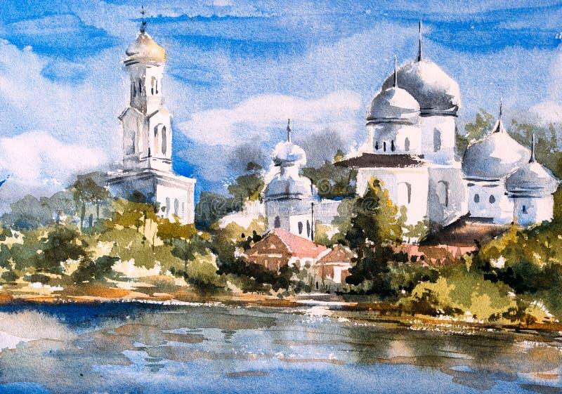 Картина акварели - Стамбул бесплатная иллюстрация