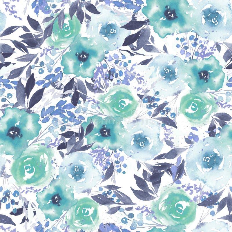 Картина акварели с голубыми абстрактными цветками бесплатная иллюстрация