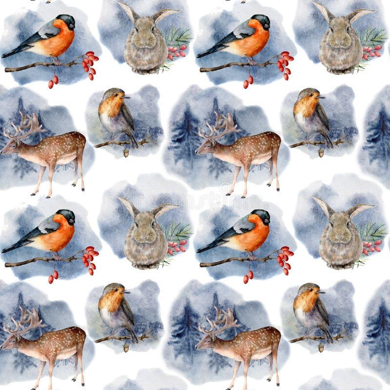 Картина акварели с животными и птицами в руке леса зимы покрасила оленей, зайцев, billfinch, робина и сосен иллюстрация штока