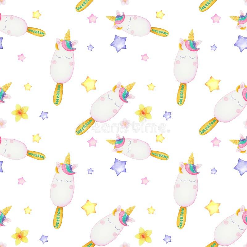 Картина акварели с милыми единорогами, облаками, радугой и звездами Волшебная предпосылка с маленькими единорогами стоковые фото