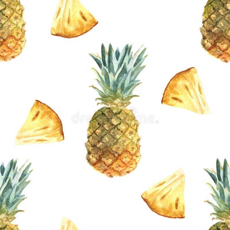 Картина акварели тропическая безшовная с ананасом на белой предпосылке иллюстрация штока