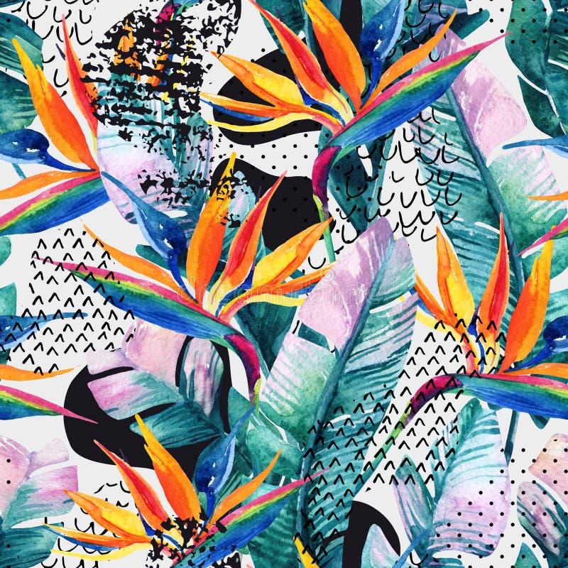 Картина акварели тропическая безшовная с цветком райской птицы Экзотические цветки, листья, ровная форма загиба заполнили с doodl иллюстрация штока