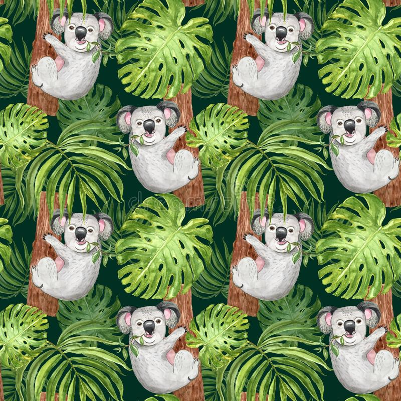 Картина акварели ультрамодная тропическая с рукой покрасила коалу, ладонь и лист monstera на темной ой-зелен предпосылке Лето бот бесплатная иллюстрация