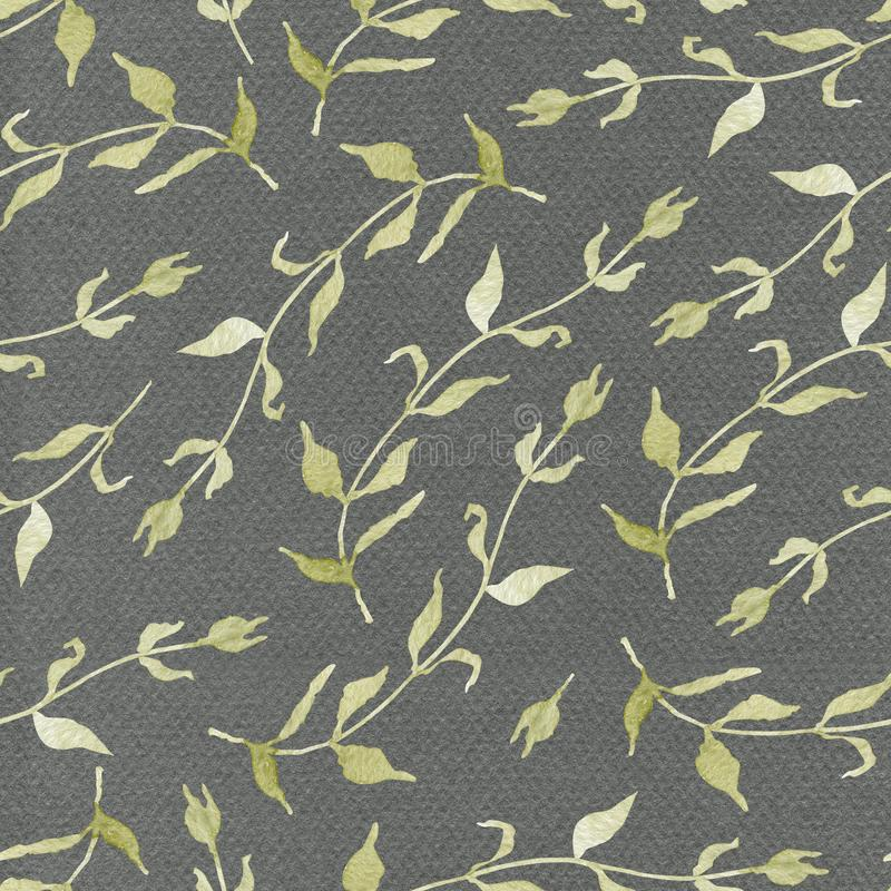 Картина акварели флористическая безшовная на серой предпосылке стоковые фотографии rf