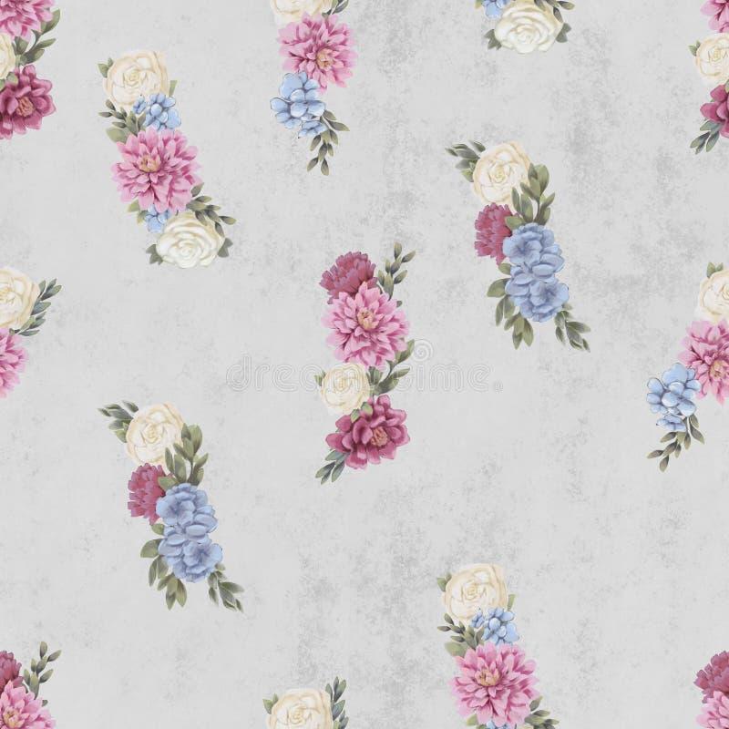 Картина акварели флористическая безшовная Рука покрасила цветки, шаблон поздравительной открытки или упаковочную бумагу иллюстрация штока