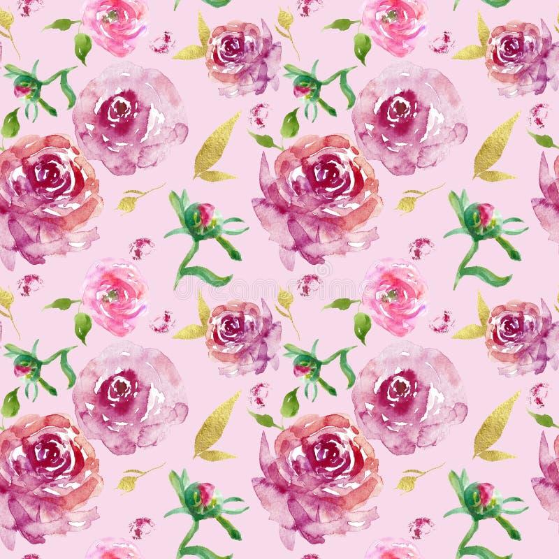 Картина акварели флористическая безшовная с бургундскими розами с листовыми золотами и пинком подняла бутоны на розовой предпосыл иллюстрация штока