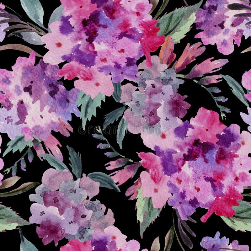 Картина акварели флористическая безшовная с розовой гортензией бесплатная иллюстрация