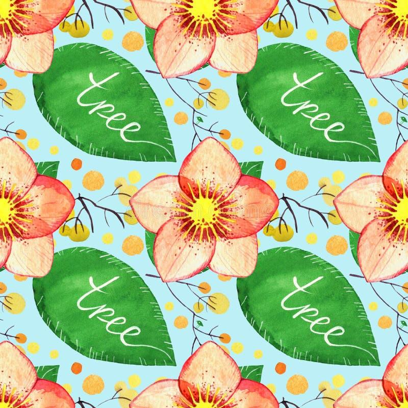 Картина акварели флористическая безшовная цветок и заводы морозника бесплатная иллюстрация