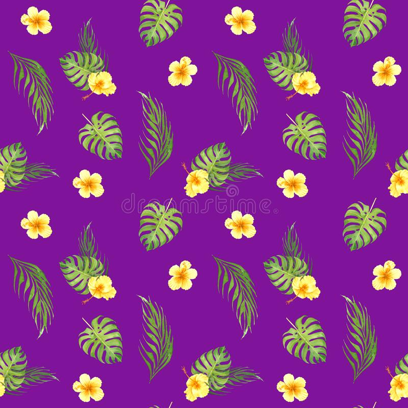 Картина акварели флористическая тропическая безшовная с зелеными листьями monstera и желтыми цветками гибискуса бесплатная иллюстрация
