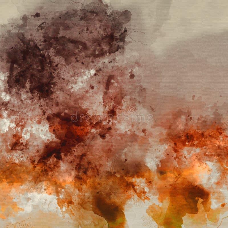 Картина акварели цифров разрешения конспекта художественная высокая с ярким апельсином и цветами Брауна на бумажной текстуре стоковое фото