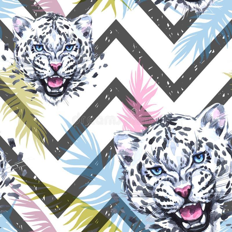 Картина акварели экзотическая безшовная Леопарды с красочными тропическими листьями на геометрической текстуре африканские животн