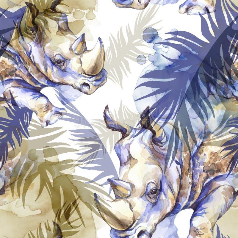 Картина акварели экзотическая безшовная Носорог с красочными тропическими листьями Африканская предпосылка животных Искусство жив