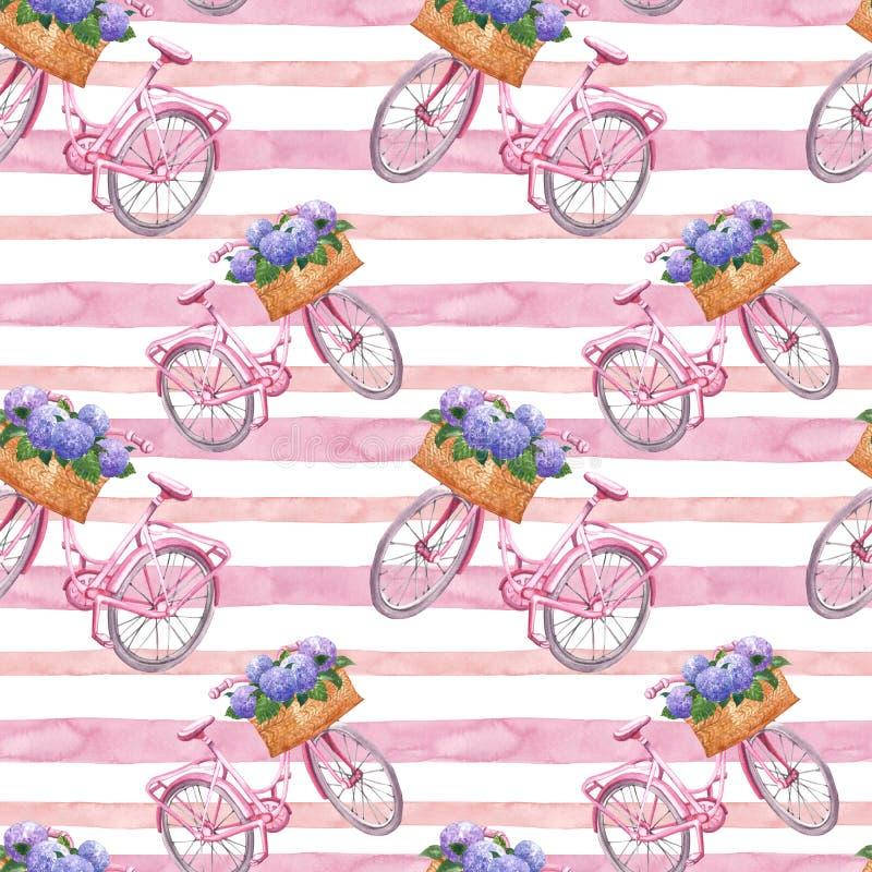 Картина акварели striped безшовная с розовым ретро велосипедом и розовые нашивки на белой предпосылке Печать стиля года сбора вин иллюстрация вектора