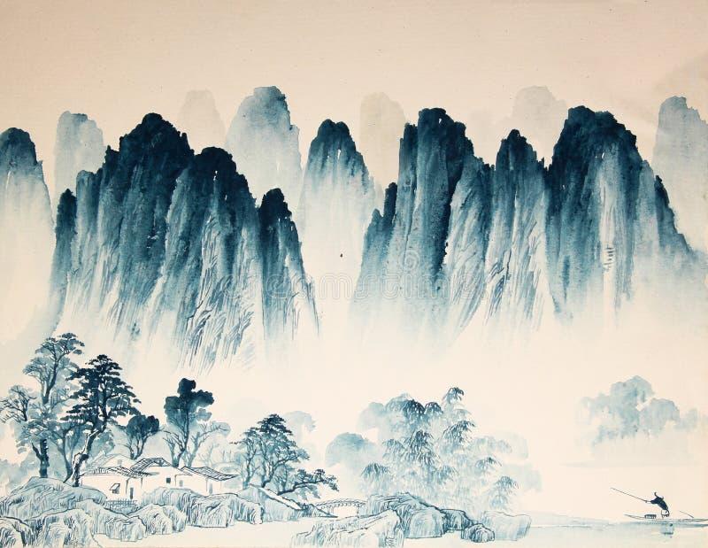 Картина акварели ландшафта китайца иллюстрация вектора
