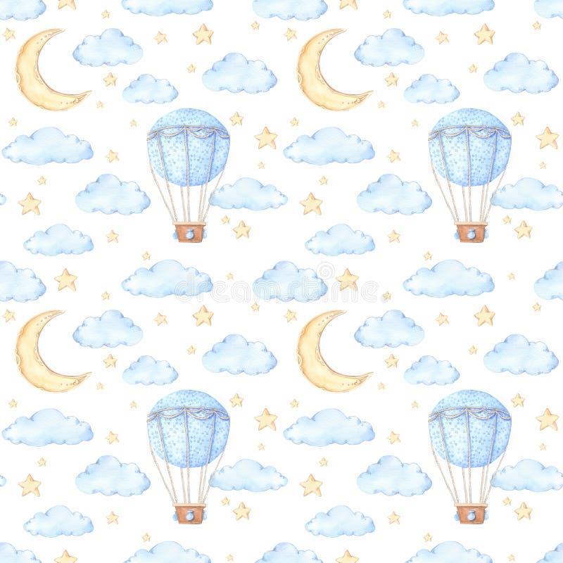 Картина акварели безшовная - воздушный шар, луна и звезды Идеи бесплатная иллюстрация