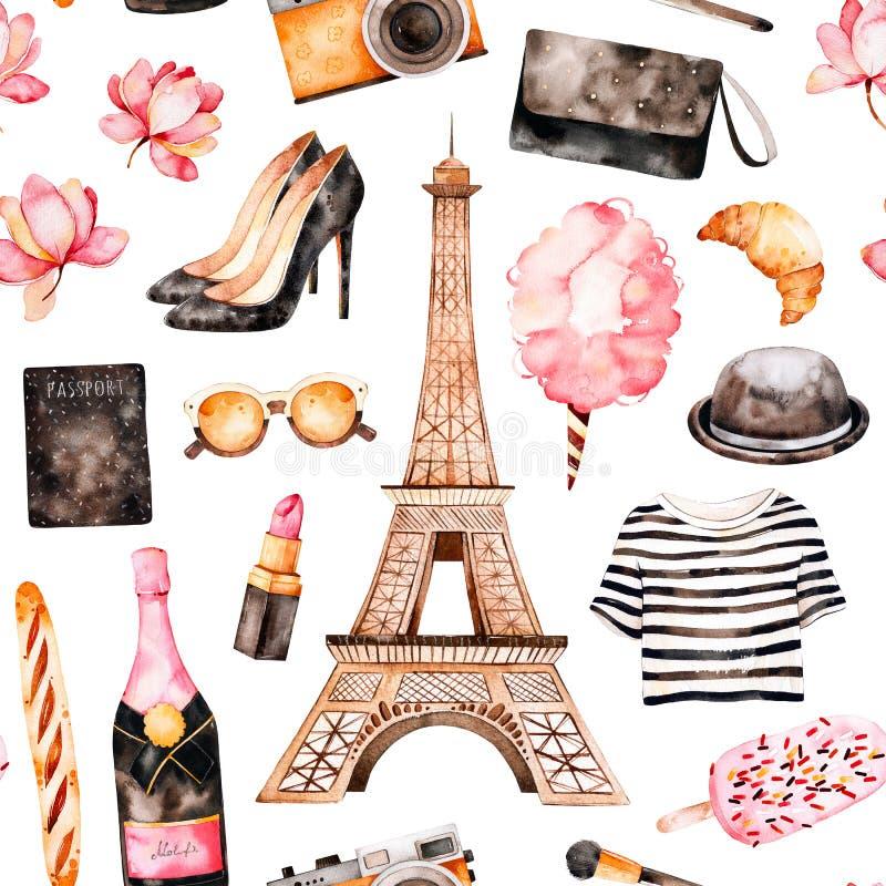 Картина акварели безшовная Стиль Парижа бесплатная иллюстрация