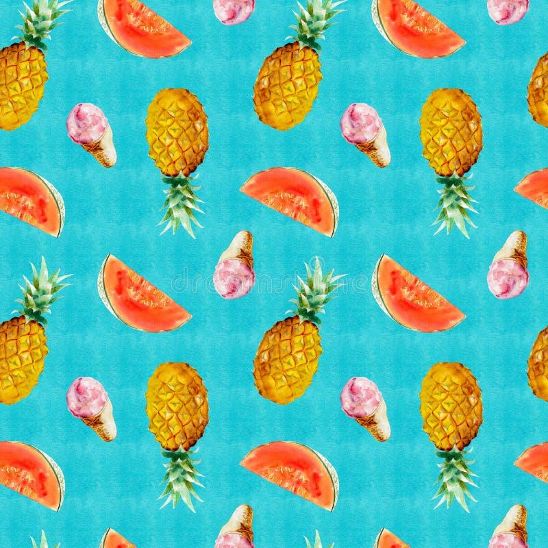 Картина акварели безшовная с ананасом, красной дыней и мороженым на яркой голубой предпосылке бесплатная иллюстрация