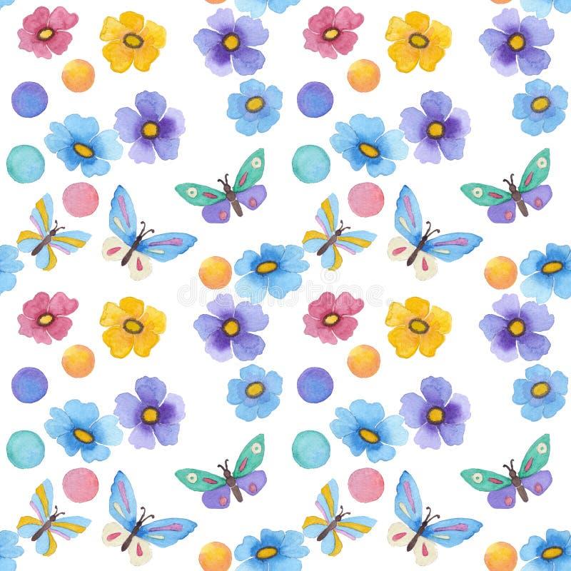 Картина акварели безшовная с бабочкой и цветками иллюстрация штока
