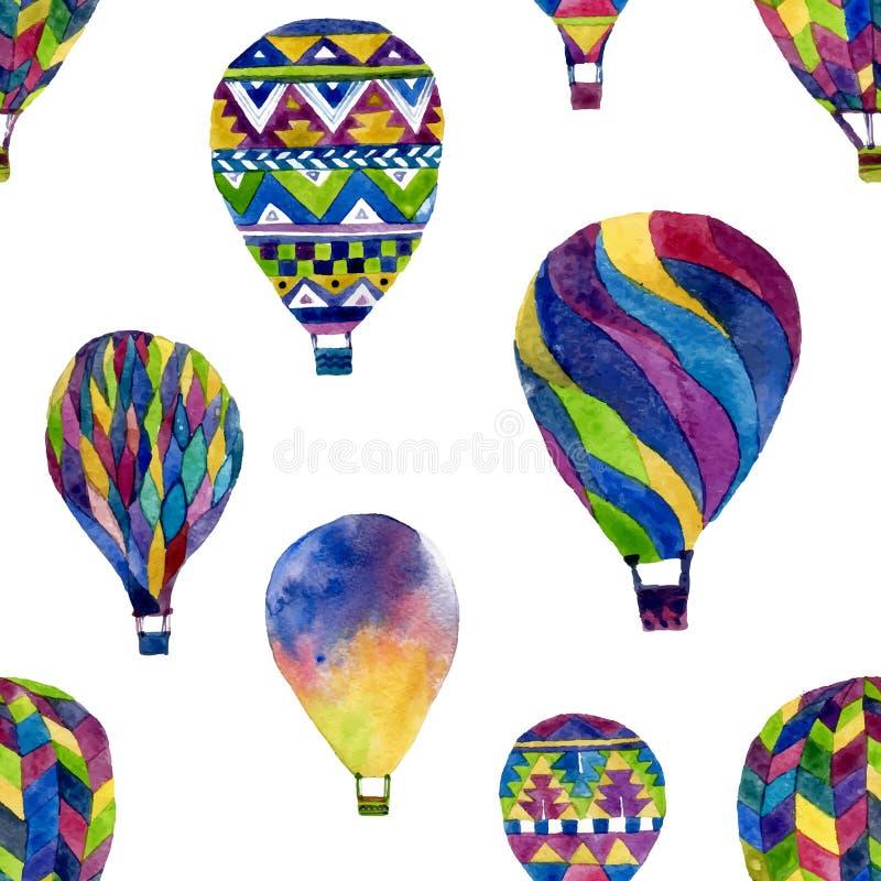 Картина акварели безшовная с горячим воздушным шаром стоковые фотографии rf