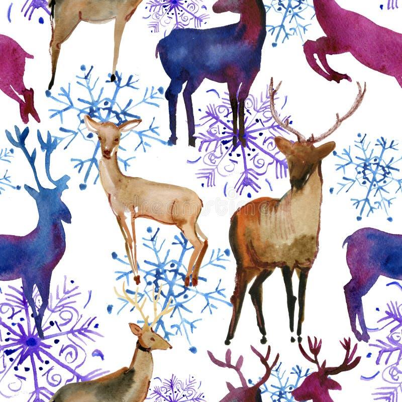 Картина акварели безшовная с оленями и снежинками снега белыми, иллюстрация штока