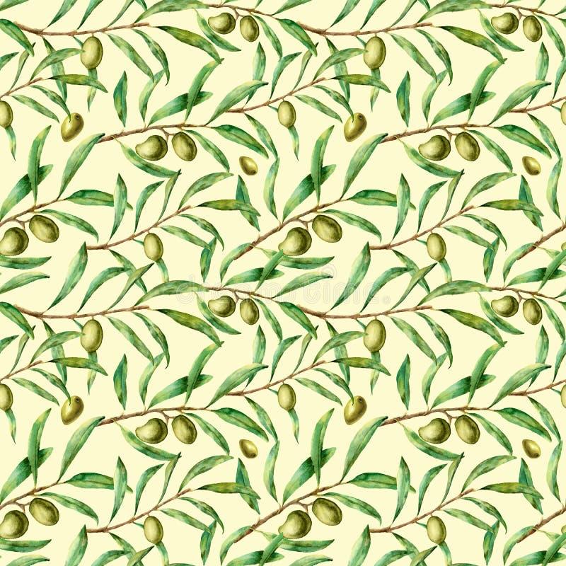 Картина акварели безшовная с оливковыми ветками Рука покрасила флористический орнамент с прованскими ягодой и ветвями дерева с бесплатная иллюстрация
