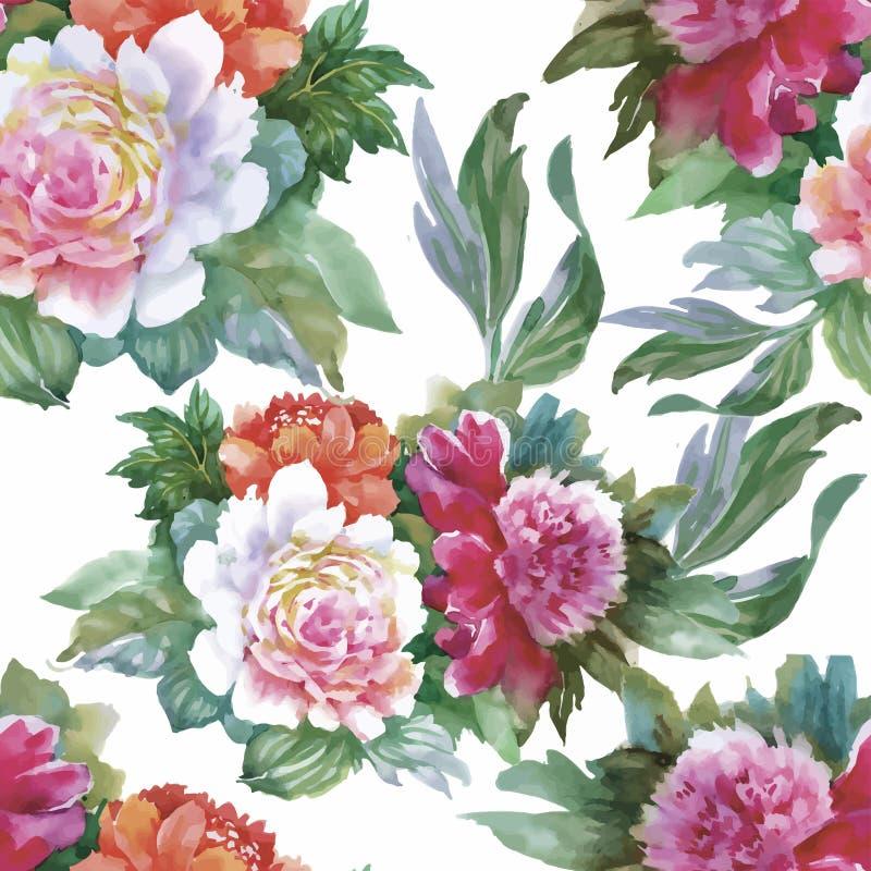 Картина акварели безшовная с розами Предпосылка для интернет-страниц, wedding приглашений, сохраняет карточки даты иллюстрация вектора