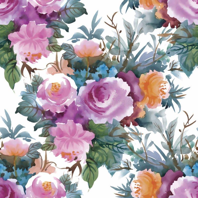 Картина акварели безшовная с розами Предпосылка для интернет-страниц, wedding приглашений, сохраняет карточки даты стоковые фотографии rf