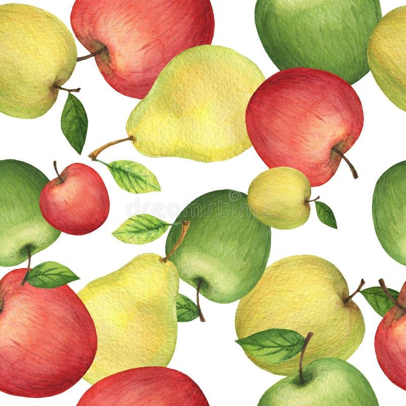 Картина акварели безшовная с свежими яблоками и грушами иллюстрация вектора
