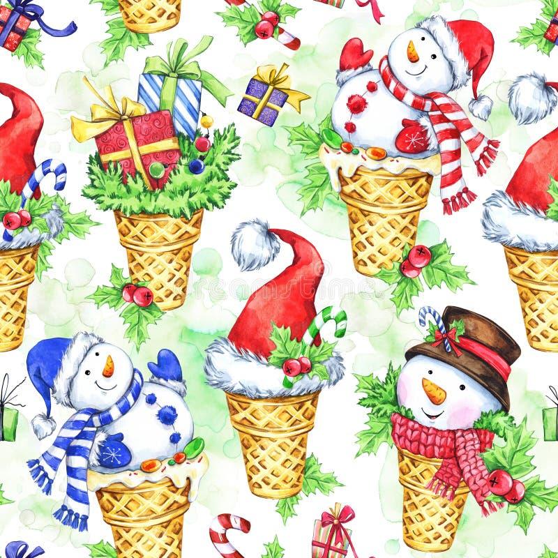Картина акварели безшовная с снеговиком шаржа, шляпой Санты и подарками Новый Год иллюстратор иллюстрации архива торжества самана иллюстрация вектора
