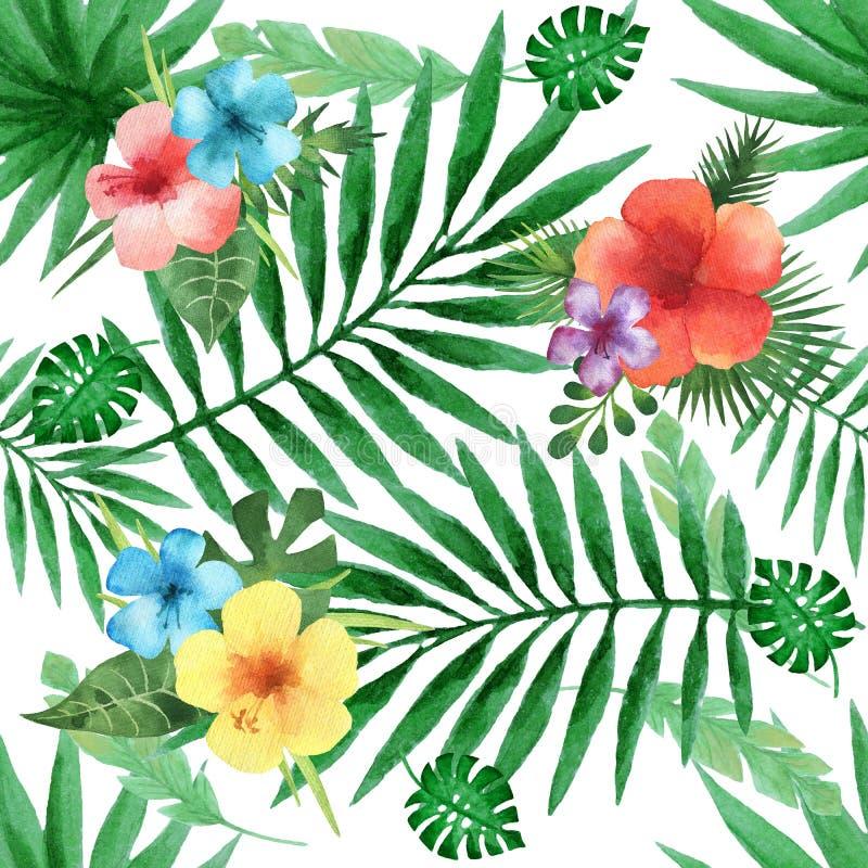 Картина акварели безшовная с экзотическими гибискусом цветка и листьями ладони иллюстрация вектора