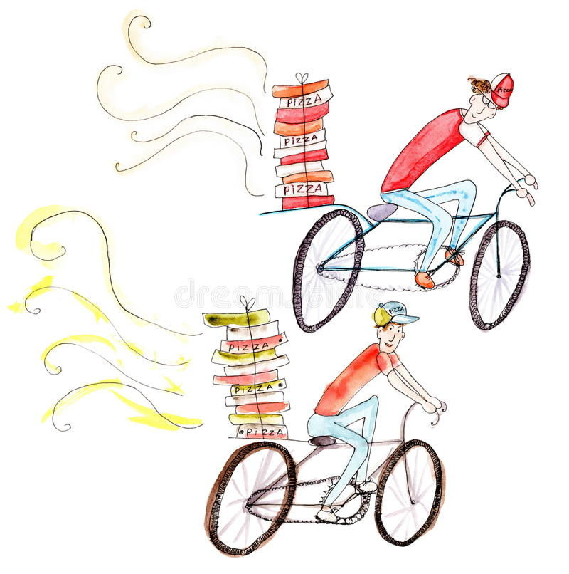 Картина акварели велосипедистов поставки пиццы на белой предпосылке бесплатная иллюстрация