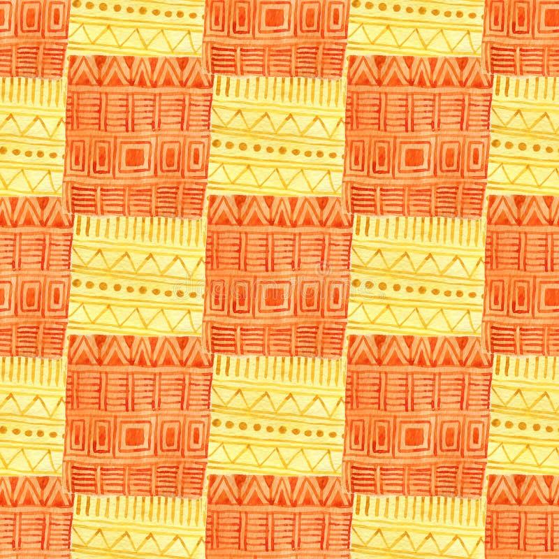 Картина акварели геометрическая безшовная Этническая текстура ткани в желтом и оранжевом цвете Дизайн печати ткани иллюстрация вектора