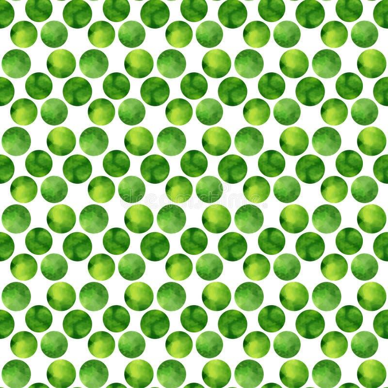 Картина акварели зеленая безшовная Нарисованная рука точек польки абстрактные круги предпосылки также вектор иллюстрации притяжки иллюстрация вектора