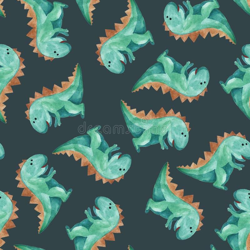 Картина акварели зеленого динозавра иллюстрация вектора