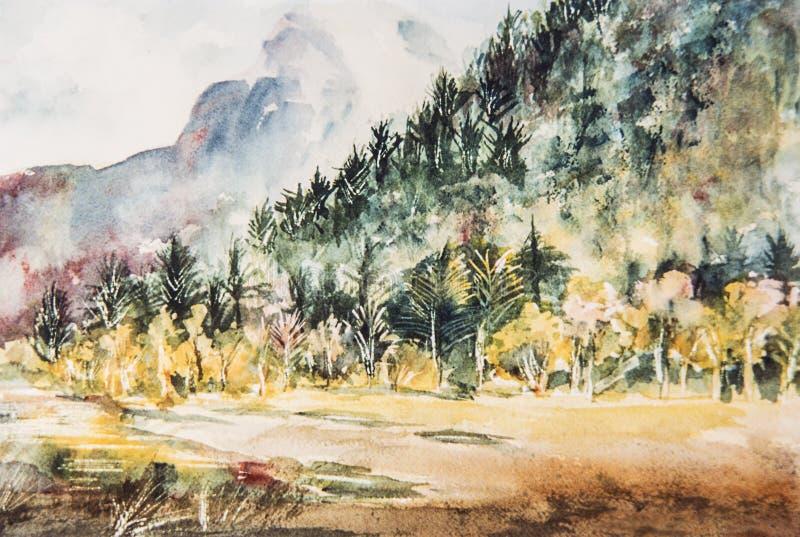 Картина акварели импрессиониста горы и деревьев стоковая фотография